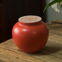 复古珊瑚红釉富贵如意茶叶罐手工普洱茶仓储茶器盖罐陶瓷功夫茶具 图片色