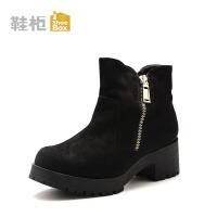 Daphne/达芙妮旗下鞋柜 秋冬潮流时尚女靴中粗跟侧拉链休闲短靴女鞋