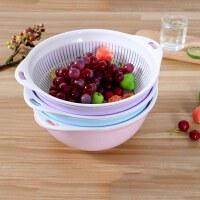 双层塑料沥水篮蔬菜水果洗菜盆菜篓子厨房创意洗米盆多功能滤水筛