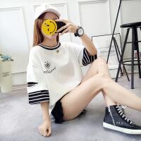 欧美女装字母短袖t恤女夏装2019新款韩版大码半袖宽松学生200斤短袖T恤女上衣潮