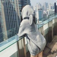 【加绒中长款卫衣连帽外套】2019秋冬季宽松大码女装bf原宿风卫衣