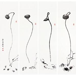 写意画《莲蓬四条屏》于洪顺 实力派画师【R4450】