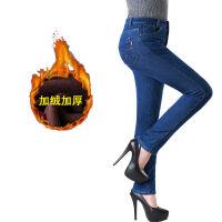 加绒加厚牛仔裤女士中年高腰冬天带绒大码宽松高弹力直筒加棉女裤
