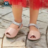 【618年中庆 限时秒杀价:99】迷你巴拉巴拉婴儿凉鞋2020夏女宝宝时尚系带鱼嘴凉鞋柔软不磨脚