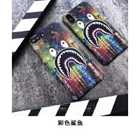 iphone8x手机壳新款bape鲨鱼男6s个性夜光6磨砂硬壳苹果7plus 苹果7、8 Plus 彩色鲨鱼
