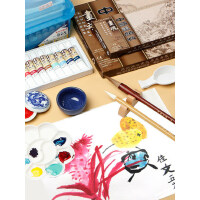 国画工具套装颜料12色18色24色初学者 毛笔小学生儿童入门矿物颜料水墨工笔画全套材料工笔画成人专业用品箱