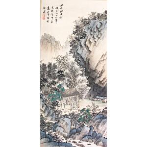 袁松年《幽谷观溪图》纸本立轴