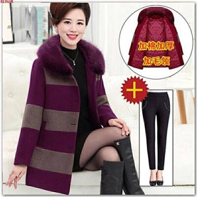 中老年女装秋冬装高贵气质毛呢外套40妈妈装洋气呢子大衣老人衣服 升级版+加绒裤