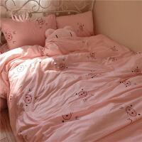 粉红可爱猪女生学生宿舍三件套被套床单床上用品四件套家用双人用