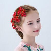 儿童头饰礼服配饰红色花朵手工边夹演出花童发夹女孩发饰