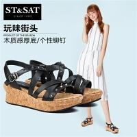 【一口价:134元】St&Sat/星期六新商场同款牛皮露趾坡跟女凉鞋SS72115876