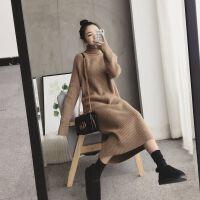 秋冬韩版高领毛衣裙宽松显瘦过膝套头加厚打底中长款女毛衣潮 M 85-105斤