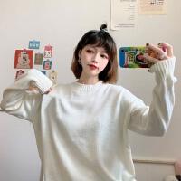 秋冬韩版可爱卡通刺绣毛衣女学生宽松百搭圆领套头针织外套潮