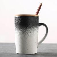 陶瓷马克杯带盖勺简约情侣咖啡杯复古茶杯办公室水杯子定制logo