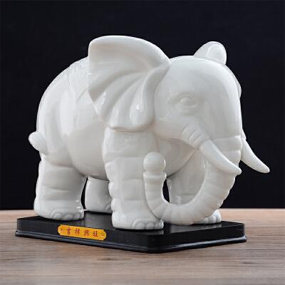 陶瓷大象摆件一对白色吉祥风水象创意家居装饰品办公室摆设品