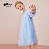 【2件3折:119.7元】迪士尼童装女童长袖网纱连衣裙儿童裙子宝宝公主裙2021新款洋气