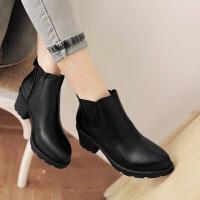 彼艾2017秋冬季新款 欧美风时尚简约小短靴 舒适低跟粗跟女短靴裸靴子