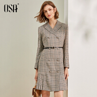 欧莎格子西装领连衣裙收腰显瘦2021年新款女春长袖百褶裙职业通勤