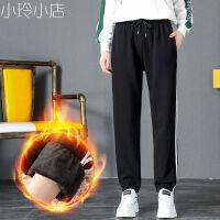 运动休闲裤子女士学生韩版宽松灯笼裤束脚INS秋季显瘦哈伦裤 黑色 加绒【H041】 X