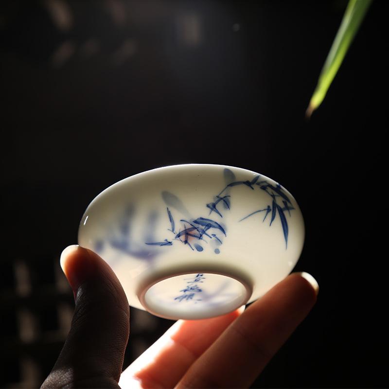 景德镇陶瓷普洱茶杯手绘品茗杯主人杯子个人杯功夫茶具水杯单杯