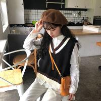 秋冬学院风毛衣马甲女韩版宽松套头女学生V领针织衫背心上衣