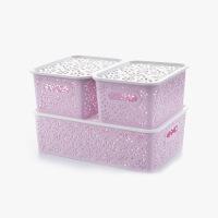当当优品 创意镂空收纳篮 衣物储物盒 塑料桌面收纳盒 三件套 紫色