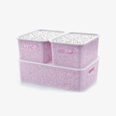 当当优品 创意镂空收纳篮 衣物储物盒 塑料桌面收纳盒 三件套 紫色 当当自营 镂空花纹设计 简约时尚大方 居家好帮手