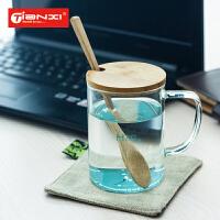天喜玻璃茶杯 办公室带盖花茶杯创意杯子 男女士透明加厚玻璃水杯