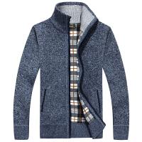 新款半高领毛衣男秋冬季羊毛衫男加厚绒宽松针织开衫外套长袖线衣