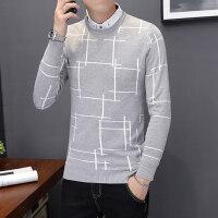 秋冬季假两件毛衣男士韩版修身衬衫领针织衫带领衬衣假领长袖上衣 8810浅灰色 衬衫领