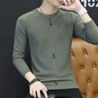 男士长袖T恤秋季新款圆领毛衣潮流针织衫2018秋衣韩版上衣服男装