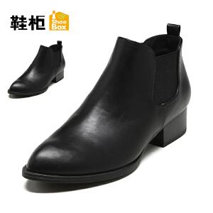 【双十一狂欢购 1件3折】Daphne/达芙妮旗下鞋柜 冬季款休闲套筒女靴方跟短靴女