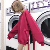 秋冬装加绒加厚卫衣女学生宽松百搭纯色长袖开叉绑带日系上衣女 酒红色 绑带卫衣