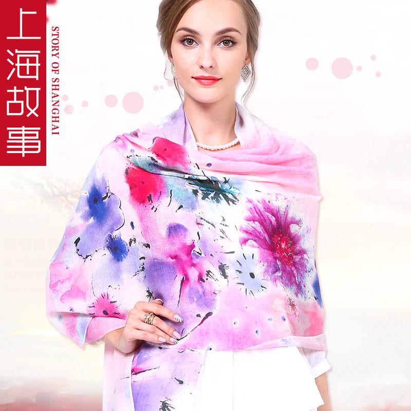 上海故事春秋纯羊毛电脑喷绘印花围巾披肩长款秋冬保暖围巾