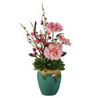 清新茶花报喜梅花陶瓷花瓶仿真花套装绢花客厅假花装饰品摆放花艺