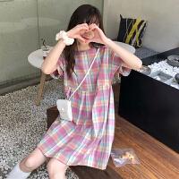 洛丽塔Lolita夏季韩版女装新款彩虹格子长裙女连衣裙长款仙女学生女中裙子潮 均码
