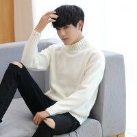 冬季男士毛衣半高领学生韩版修身长袖打底衫线衣白色针织衫衣服男