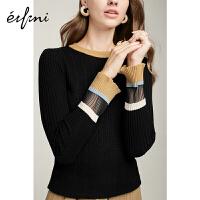 伊芙丽毛衣女新款100%羊毛打底针织长袖套头羊毛衫女1A9931201
