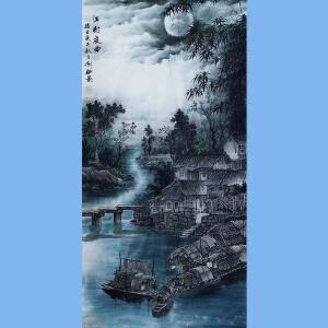 现为越世阁画院院长,中国艺术学会会员,艺宝在线特聘画家易剑赋(江村夜曲)