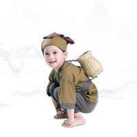 儿童国学汉男女宝锄禾古装悯农夫表演出衣服装书童小和尚药童秋冬