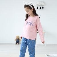女童睡衣春秋季中大童棉质长袖公主韩版套头儿童家居服