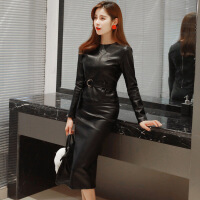 皮衣皮裙气质女人味包臀两件套装连衣裙秋冬新款皮高腰套装裙 黑色