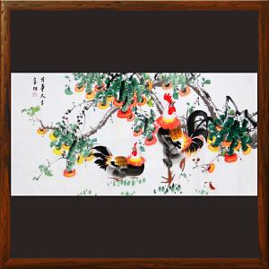 《万事大吉》横幅柿子大鸡图 王富财 江西美协 书画家协会理事R4355