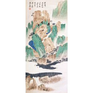 张大千 款《翠峰清远图》纸本立轴