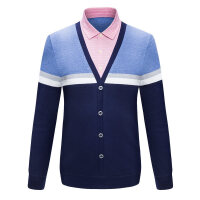 男士T恤衬衫领秋冬季长袖保暖衣套头针织衫毛衣假两件男装上衣服