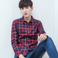 春秋季男士格子长袖衬衫青年韩版英伦衬衣男生薄款青少年打底寸衫