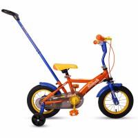 儿童自行车10/12寸1-2-3岁小童宝宝婴幼儿童三轮车带手推杆 新款橘色