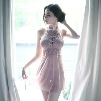 情趣内衣性感蕾丝睡裙女透明睡衣装制服旗袍激情诱惑睡袍 均码