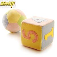 【六一儿童节特惠】 婴儿玩具宝宝认知新生儿球和数字方块毛绒布艺摇铃 方块和球