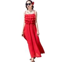 2019巴厘岛海边度假沙滩裙吊带露背连衣裙波西米亚雪纺长裙大摆夏 红色